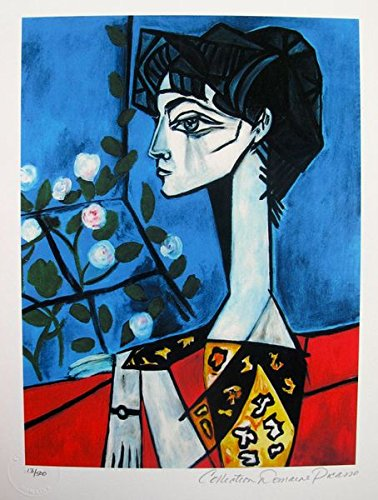 Artwork by Pablo Picasso After the Original Painting Small Jacqueline Roque with Flowers Pencil Signed on the Lower Right Paper Measures 14 inches x 11 inches Image Measures 12 inches x 9 inches