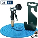 Water Hose – Mini Expandable Garden Hose 25 Feet - Hose Holder and High Pressure Washer Hose Spray Nozzle With 7 Settings – Solid Brass Fittings - Heavy Duty Outdoor Kink Free Retractable Flex Hose
