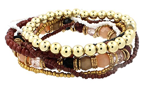 RoseSummer Bohemian Style Multilayer Acrylic Mix Measle Elastic Bracelet Beaded Chain Women Girl Fashion Accessories (coffee)