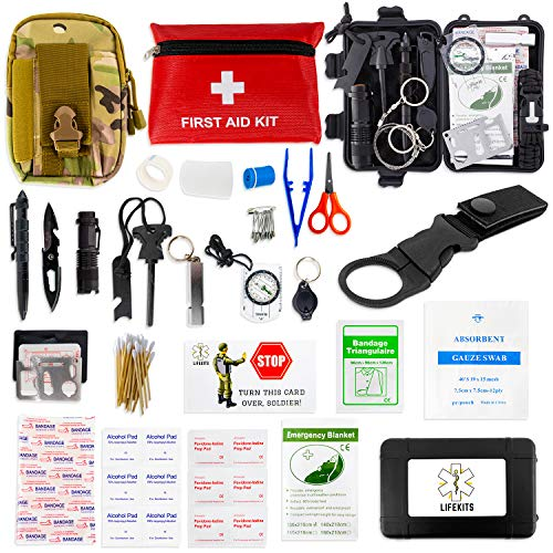 LifeKits Survival Kit First Aid Kit- Survival Gear for Hiking - Emergency Kit - Camping Tactical Gear Bug out Bag Backpack - Earthquake Outdoor Survival Pack - Survival Kits for Men Car - Military EDC