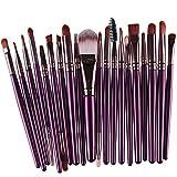 KOLIGHT Set of 20pcs Cosmetic Makeup Brushes Set Powder Foundation Eyeliner Eyeshadow Lip Brush for Beautiful Female (Purple+Coffee)