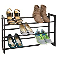 mDesign Metal 3 Tier Adjustable/Expandable Shoe and Boot Storage Organizer Rack - Space-Saving, Angled Vertical Storage - Closet, Entryway, Mudroom, Bedroom, Garage