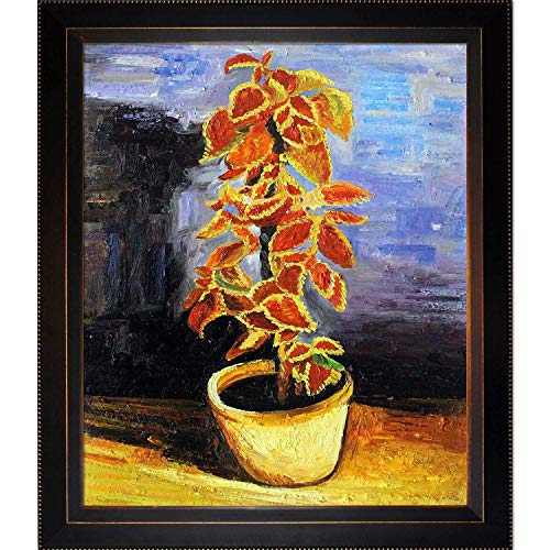 La Pastiche Coleus Plant in a Flowerpot with Veine D'Or Bronze Angled Framed Oil Painting, 26