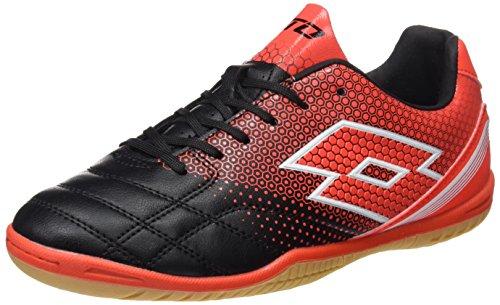Lotto Spider 700 Xiii Id Jr, Zapatillas de Fútbol Sala Unisex Niños Negro (Blk /     Red Wrm)