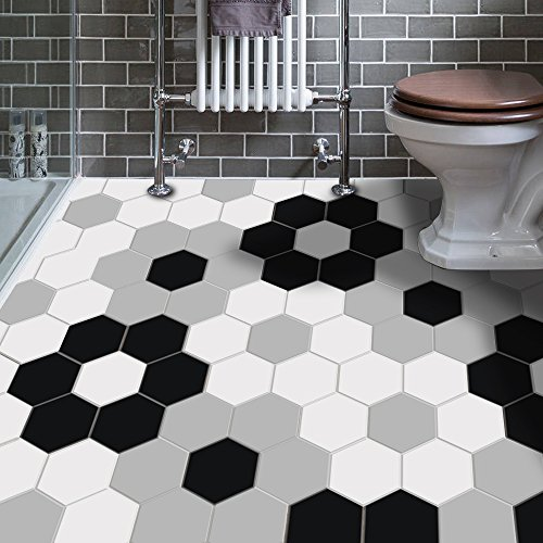 VANCORE Peel and Stick Tile Backsplash Stickers Hexagon Floor Tile Sticker for Bathroom Geometric Patterned Home Wall Decor 4.53x7.87inch 10 Pcs/Set ...