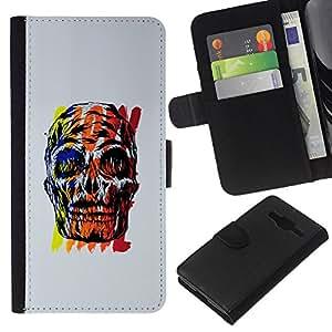 EJOY---La carpeta del tirón la caja de cuero de alta calidad de la PU Caso protector / Samsung Galaxy Core Prime / --Red Skull gris cartel colorido amarillo
