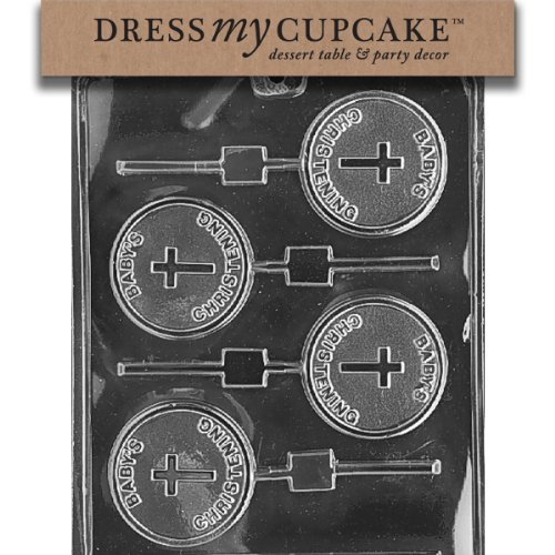 - Dress My Cupcake Chocolate Candy Mold, Baby's Christening Lollipop, Baby Shower
