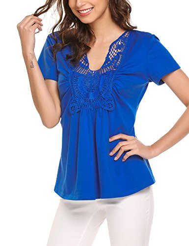 V-Neck Ruched Short Sleeve Ruffle T-Shirt Blouse Top Blue XL ()