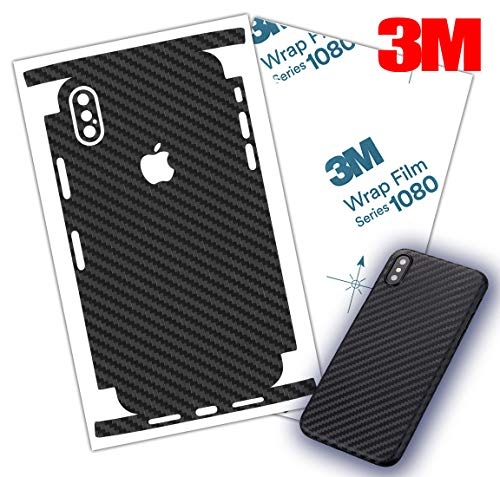 Carbon Fiber Skin 3M 1080 wrap iPhone Skin Protective Around Edges Cover Black Skin for iPhone 7, 7 Plus, 8, 8 Plus, X, XR, Xs Max (iPhone XR)