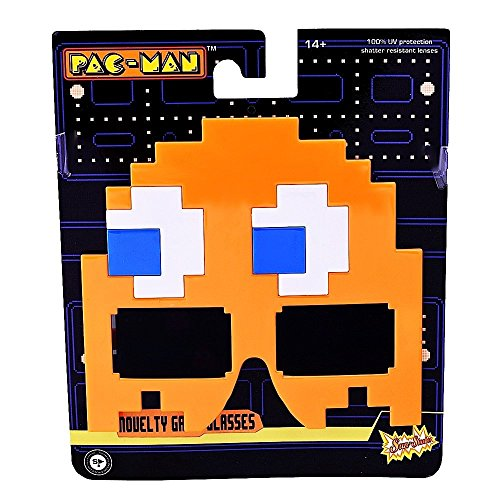 Sunstaches Pacman Orange Ghost Sunglasses, Party Favors, -