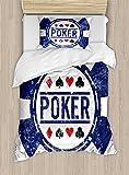 Lunarable Poker Tournament Duvet Cover Set Twin Size, Poker Chip Inspired Grunge Stamp Design Black Jack Icon, Decorative 2 Piece Bedding Set with 1 Pillow Sham, Violet Blue Vermilion White