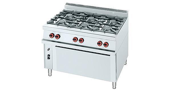 Macfrin R6L Cocina a Gas de 6 Fuegos y Horno 49 Kw ...
