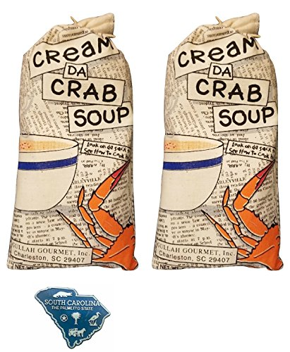 Gullah Gourmet Cream Crab Soup - 2/6 oz - Maryland Cream of Crab Soup Style - Use this Mix and Add Lump Crab Meat - Enjoy this Charleston South Carolina Mixture makes a Meal for 4 w/SC Magnet