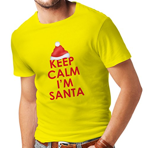 T shirts for men Keep Calm I'm Santa,Holiday clothes (XX-Large Yellow Multi Color) (Sexy Outfits For Guys)