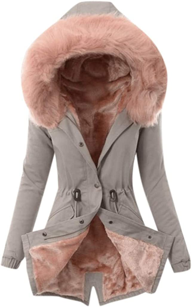 Acilnxm Womens Faux Fur Lining Long Coat Winter Warm Thick Hooded Trench Jacket