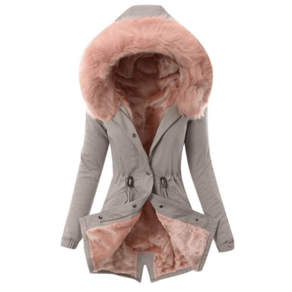 Fammison Womens Hooded Fleece Line Coats Parkas Faux Fur Jackets with Pockets Long Jacket Hooded Overcoat Gray by Fammison