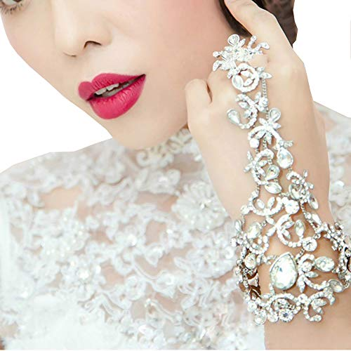 eNice Rhinestone Bridal Bracelet Arm Chain with Ring for Wedding Prom, Silver-Tone Sparkling Bracelet