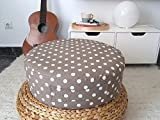 Taupe Round Floor Cushion Ottoman Pouf- Taupe Toddler Floor Cushions Pouf - Nursery Decor - Kids Pouf - Meditation Floor Cushion