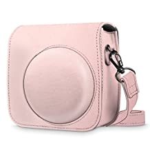 Fintie Protective Case for Fujifilm Instax Mini 8 Mini 8+ Mini 9 Instant Camera - Premium Vegan Leather Bag Cover with Removable Strap, Rose Gold