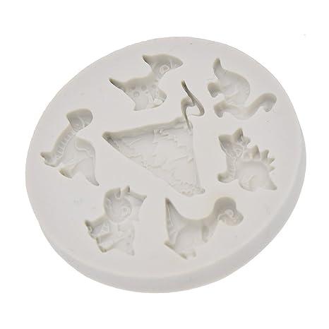 YNuth Molde de Silicona del Diseño de Dinosarios y Volcán para Tarta Pastel de Azúcar y