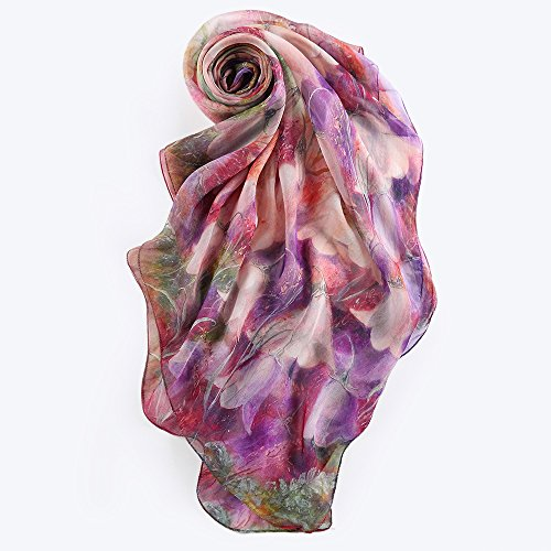 STORY OF SHANGHAI Women's Mulberry Flower Print Large Silk Shawl Scarf Wraps 68x43 Inches Tulips