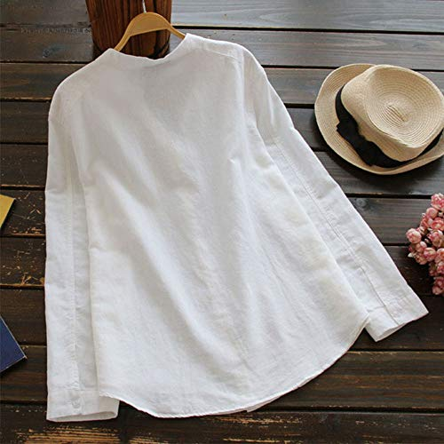 Rambling Women Cotton Linen Casual Loose Button-Down Shirt Solid Long Sleeve Basic Blouse Henley Tops Black