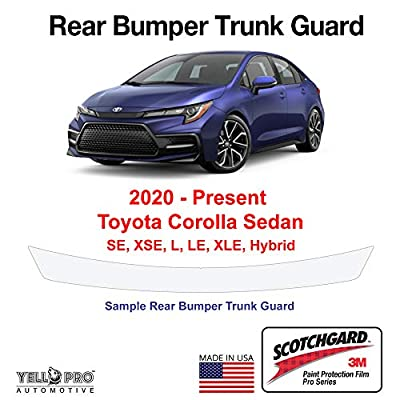 YelloPro Custom Fit Rear Trunk Bumper Edge 3M Scotchgard Paint Protector Film Anti Scratch Clear Bra Guard Cover Self Healing Kit for 2020 Toyota Corolla SE SE 6MT XSE L LE XLE Hybrid LE Sedan: Automotive
