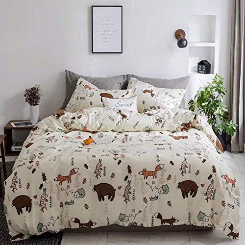 Wellboo Bear Comforter Sets Beige Yellow Cartoon Animals Bedding Sets Fox Rabbit Girls Children Twin Quilt Cotton Kids Toddler Zoo Forest Blanket Cute Light Color Bedding Sets Soft Warm Lightweight
