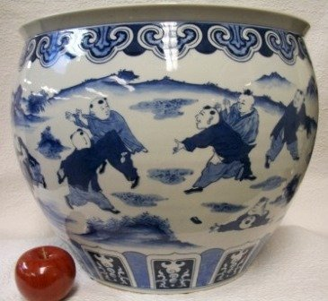 Children Playing Blue and White Porcelain Fish Bowl 18''