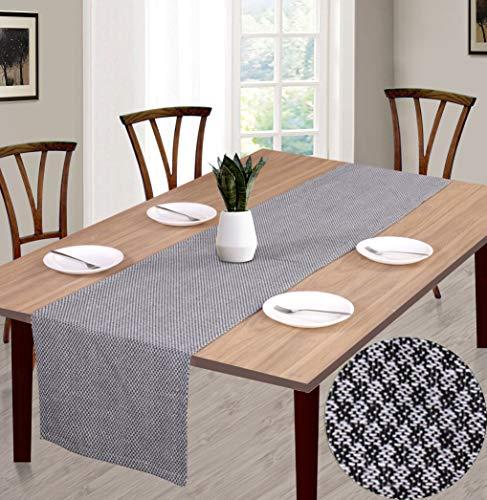 Ramanta Home Cotton Jacquard Table Runner 16x108 Designer Look with Mitered Corners & Generous Hem, Black (Table Runner Designer)