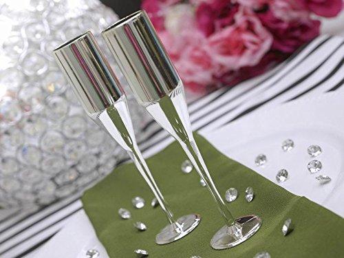 60 Pcs Disposable Plastic Mini Champagne Flutes-Silver (Mini Champagne Flutes compare prices)