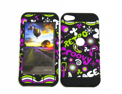 SHOCKPROOF HYBRID COVER PROTECTOR FACEPLATE HARD CASE AND BLACK SKIN WITH MINI STYLUS PEN. KOOL KASE ROCKER FOR APPLE IPOD ITOUCH 5 GROOVY PEACE BK-TE387