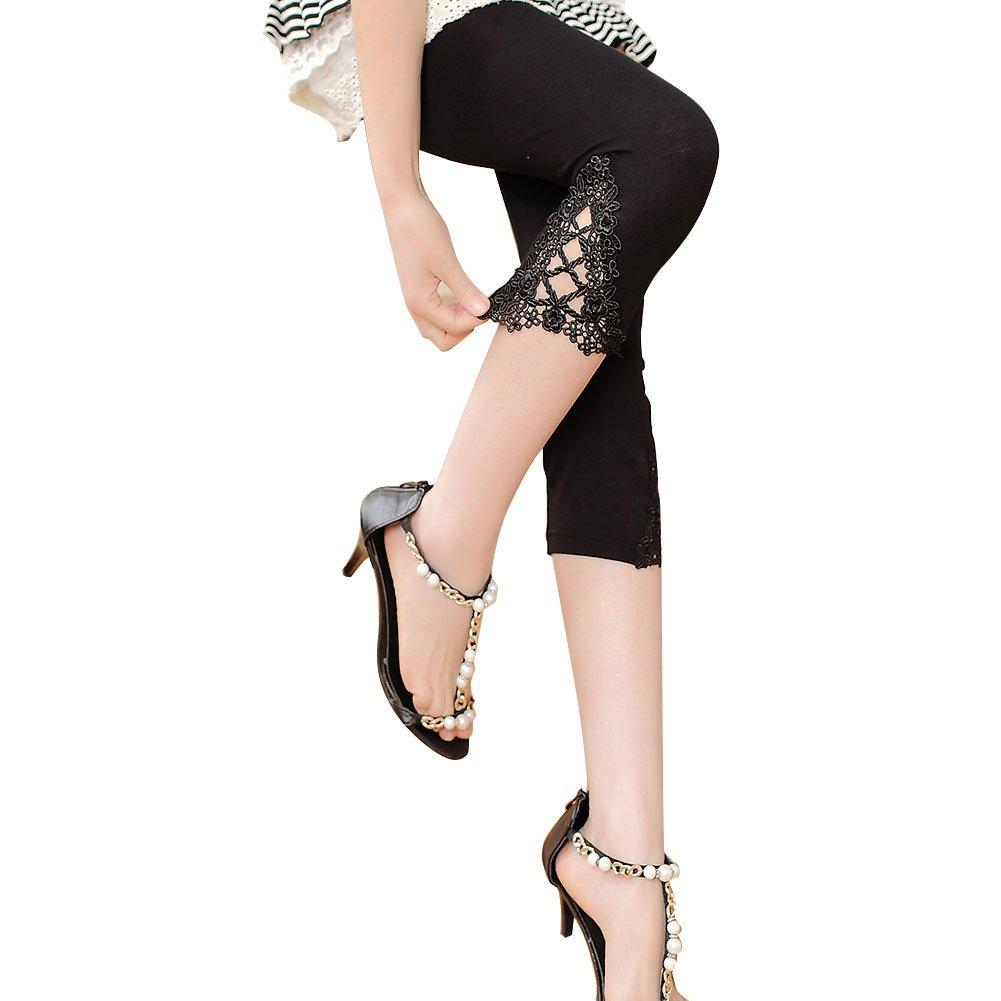 KJAHSLK Women Lace Leggings Fitness Soft Modal Stretch 3/4 Length Big Girls's Tights Pants (M-L, White)