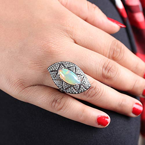 (Genuine Marquise Shape Opal Gemstone Cocktail Ring Diamond Pave Solid 925 Sterling Silver Vintage Style Fine Jewelry)