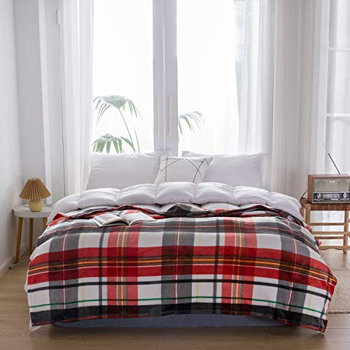 "NEWCOSPLAY Flannel Fleece Throw Blanket Lightweight Soft All Season Use (Plaid-Orange, Throw(50""x70""))"