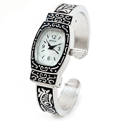 Silver Decorated Western Style Women's Bangle Cuff Watch
