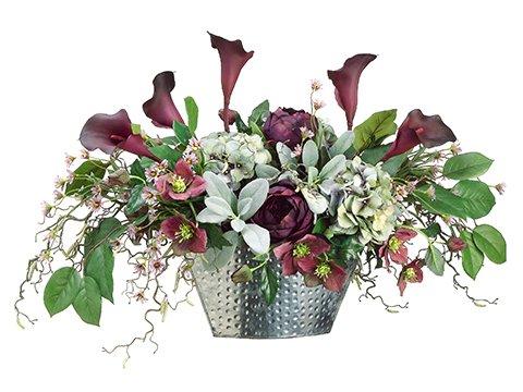 """20""""Hx19""""Wx35""""L Calla Lily/Rose /Hydrangea/Helleborus in Silver Container Eggplant Gree"""