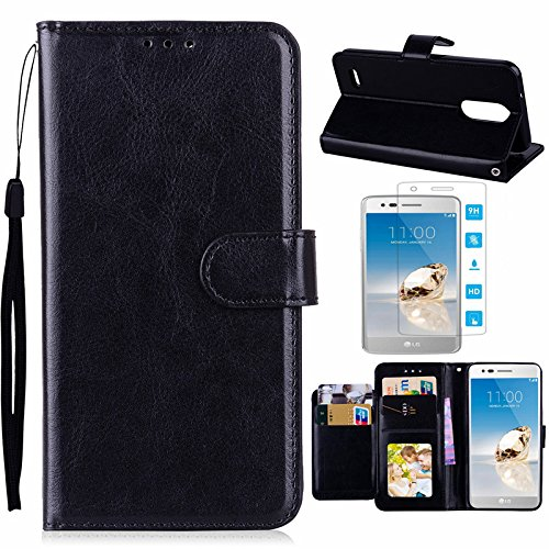 LG Aristo 2 Case, LG Tribute Dynasty/LG LV3 2018/K8 2018 Case with Screen Protector, I VIKKLY [Kickstand] Magnetic Snap Premium PU Leather Wallet with Card Slot Folio Flip Case (Crazy Horse-Black)