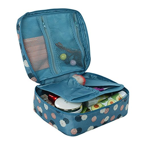 Itraveller Printed Multifunction Portable Travel Toiletry Bag Cosmetic Makeup Pouch Case Organizer for Travel (Blue Flowers) (L Cosmetic Bag)