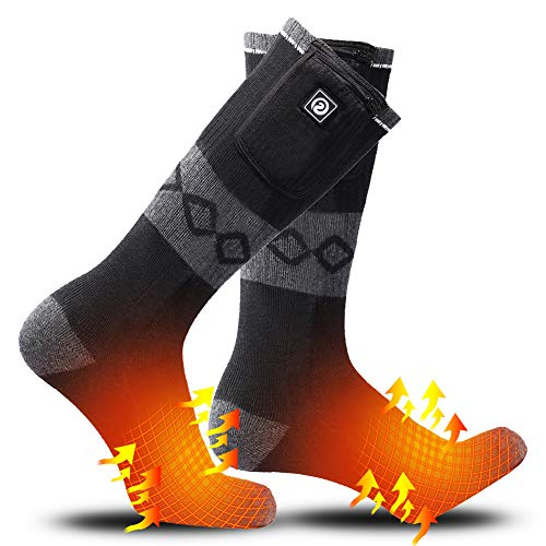 SUNWILL Heated Socks for Men Women,7.4V 2200mah Electric Rechargeable Battery Warm Winter Socks,Cold...
