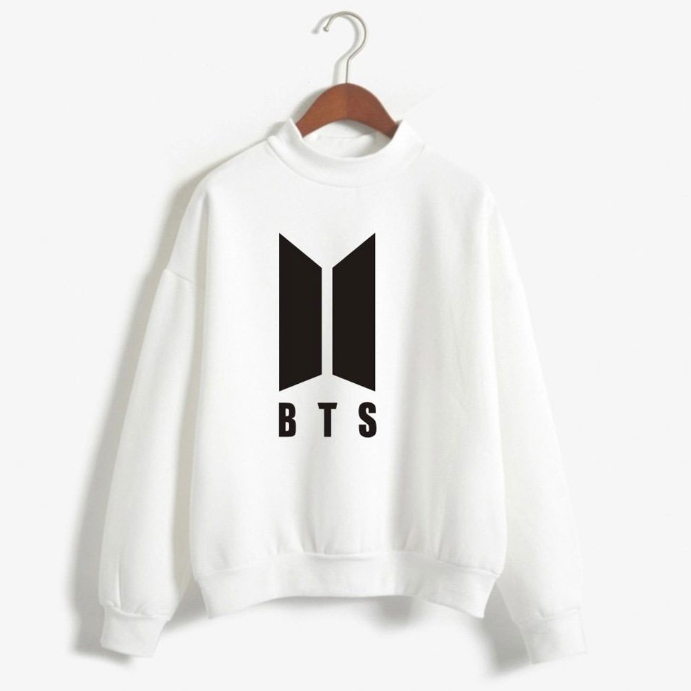 BTS New Logo Printed Women Men Round High Neck Fleece Pullover Hoodie Sweatshirts Casual Love Yourself