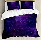 Deep Purple Duvet Cover Sky 4 Piece Bedding Set Twin Size, Galaxy Nebula Illustration Deep Space Star Clusters and Constellation Milky Way, Duvet Cover Set Quilt Bedspread for Childrens/Kids/Teens/Adults, Purple Pink Black