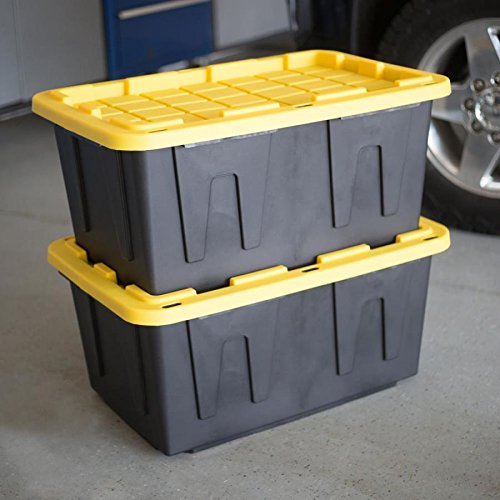 27 Gallon Black Tote with Standard Snap Lid Heavy duty Construction For Garage and Workshop Use by Centrex (Image #2)
