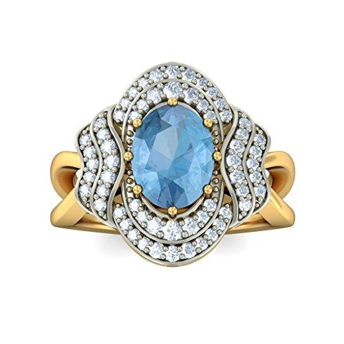 14K Or jaune, 0,37carat Diamant Blanc (IJ | SI) Topaze bleue et diamant Bague