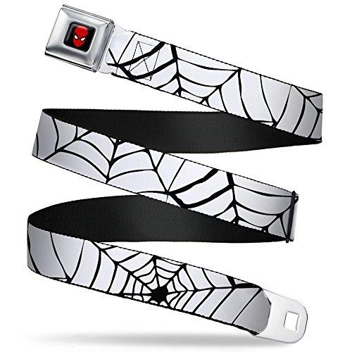 Buckle-Down Seatbelt Belt - Spiderweb White/Black - 1.5