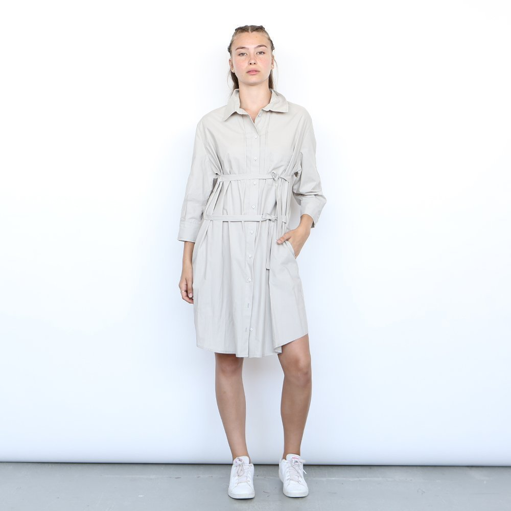 Joli Dress,button down shirt women ,Cotton Midi dress, Grey .