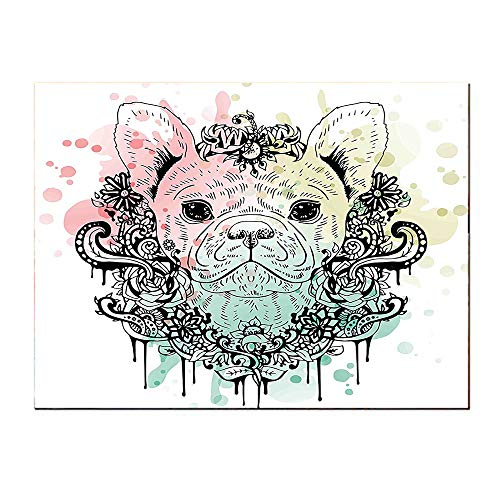 (SATVSHOP Art painting-20Lx20W-Animal French Bulldog with Floral Wreath on Brushstroke Watercolor Mint Light Pink Pale Green.Self-Adhesive backplane/Detachable Modern Decorative.)