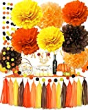 Fall Party Supplies/Thanksgiving Party Decorations Yellow Orange Brown Pumpkin Color Tissue Pom Pom Tassel Garland for Fall Birthday Party/Autumn Party Decorations/Autumn Wedding, Fall Themed Decor