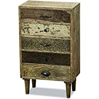 The Paisley Nightstand, 5 Drawers, Artisan Crafted, Rustic Grain, Solid Wood, Incised Patterns, Crackle Chippy Paint, Distressed Finish, Boho Chic Style, 31 1/2 Inches, By Whole House Worlds