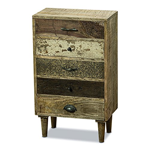 Paint Finish Bedroom (The Paisley Nightstand, 5 Drawers, Artisan Crafted, Rustic Grain, Solid Wood, Incised Patterns, Crackle Chippy Paint, Distressed Finish, Boho Chic Style, 31 1/2 Inches, By Whole House Worlds)